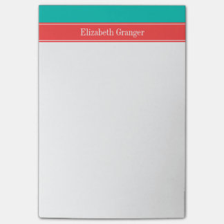 Solid Teal, Coral Red Ribbon Name Monogram Post-it® Notes