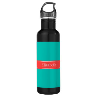 Solid Teal, Coral Red Ribbon Name Monogram Water Bottle