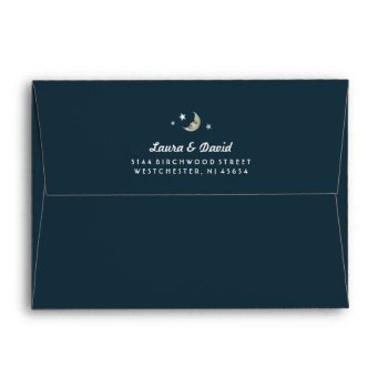 Solid Teal Gold White Moon & Stars Wedding Envelope by juliea2010 at Zazzle
