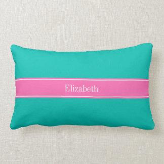 Solid Teal, Hot Pink #2 Ribbon Name Monogram Lumbar Pillow