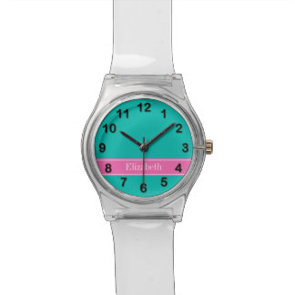 Solid Teal, Hot Pink #2 Ribbon Name Monogram Watch