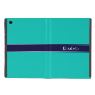 Solid Teal, Navy Blue Ribbon Name Monogram Case For iPad Mini