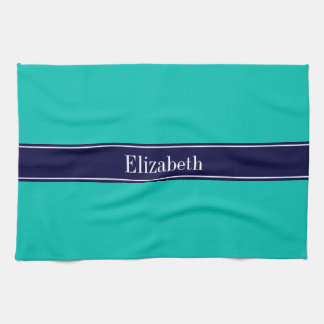 Solid Teal, Navy Blue Ribbon Name Monogram Kitchen Towel
