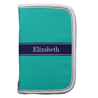 Solid Teal, Navy Blue Ribbon Name Monogram Folio Planners