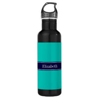 Solid Teal, Navy Blue Ribbon Name Monogram Stainless Steel Water Bottle