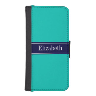 Solid Teal, Navy Blue Ribbon Name Monogram Wallet Phone Case For iPhone SE/5/5s