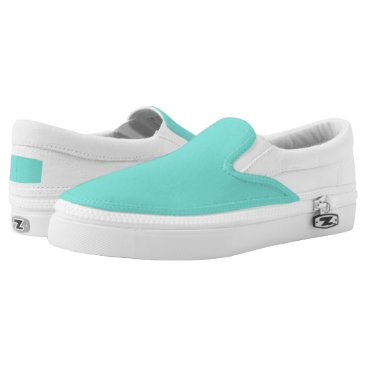 McTiffany Tiffany Aqua Solid Turquoise Blue/DIY color Slip-On Sneakers