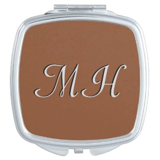 Solid Umber Brown Monogram Vanity Mirror