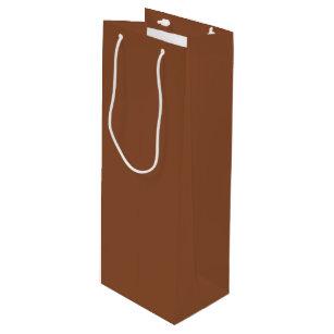 Solid Umber Brown Wine Gift Bag