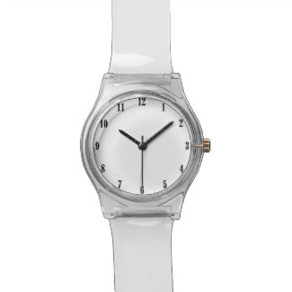 Solid White Black Numbers Watch