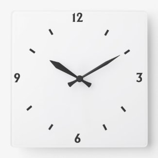 Solid White with Black numbers Square Wallclock