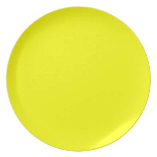 Solid Yellow Background Color Template Dinner Plate