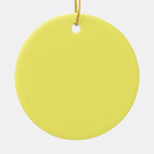 Solid Yellow Background Color Template Double-Sided Ceramic Round Christmas Ornament