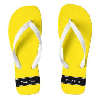 Solid Yellow, Black Ribbon Name Monogram Flip Flops