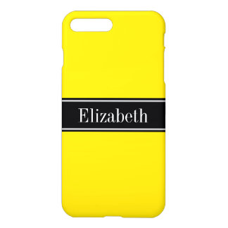 Solid Yellow, Black Ribbon Name Monogram iPhone 8 Plus/7 Plus Case