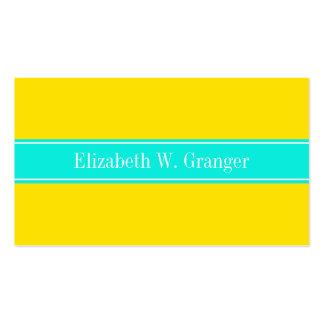Solid Yellow, Bright Aqua Ribbon Name Monogram Business Card