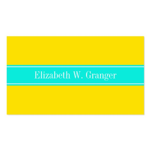 Solid Yellow, Bright Aqua Ribbon Name Monogram Business Cards