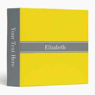 Solid Yellow, Charcoal Gray Ribbon Name Monogram 3 Ring Binders