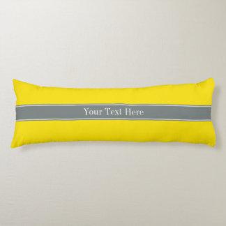 Solid Yellow, Charcoal Gray Ribbon Name Monogram Body Pillow
