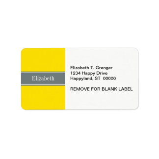 Solid Yellow, Charcoal Gray Ribbon Name Monogram Label