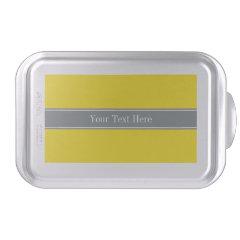 Solid Yellow, Charcoal Gray Ribbon Name Monogram Cake Pan