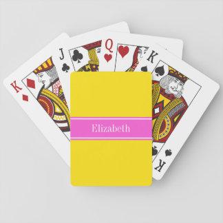 Solid Yellow, Hot Pink Ribbon Name Monogram Poker Deck