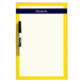 Solid Yellow, Navy Blue Ribbon Name Monogram Dry Erase Board