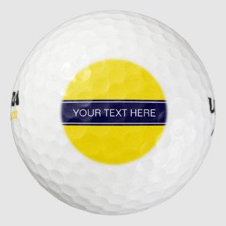 Solid Yellow, Navy Blue Ribbon Name Monogram Golf Balls