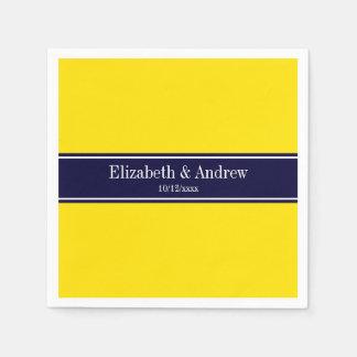 Solid Yellow, Navy Blue Ribbon Name Monogram Paper Napkin