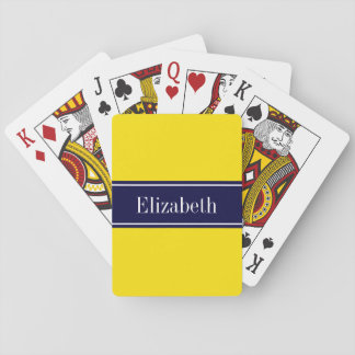 Solid Yellow, Navy Blue Ribbon Name Monogram Playing Cards