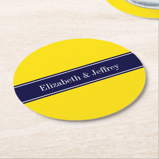 Solid Yellow, Navy Blue Ribbon Name Monogram Round Paper Coaster