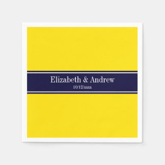 Solid Yellow, Navy Blue Ribbon Name Monogram Paper Napkins