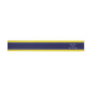 Solid Yellow, Navy Blue Ribbon Name Monogram Wrap Around Label