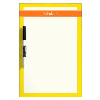 Solid Yellow, Pumpkin Orange Ribbon Name Monogram Dry Erase Board