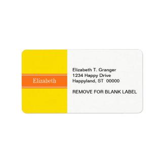 Solid Yellow, Pumpkin Orange Ribbon Name Monogram Custom Address Labels