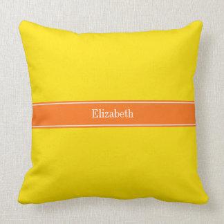 Solid Yellow, Pumpkin Orange Ribbon Name Monogram Pillow