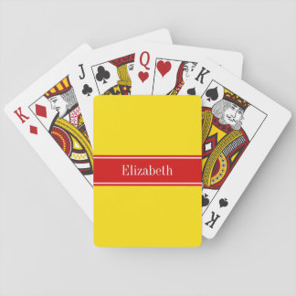 Solid Yellow, Red Ribbon Name Monogram Playing Cards