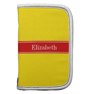 Solid Yellow, Red Ribbon Name Monogram Planner