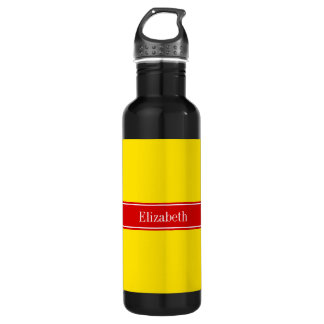 Solid Yellow, Red Ribbon Name Monogram Stainless Steel Water Bottle