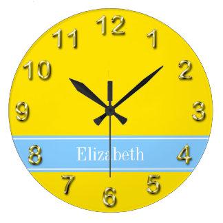 Solid Yellow, Sky Blue Ribbon Name Monogram Large Clock