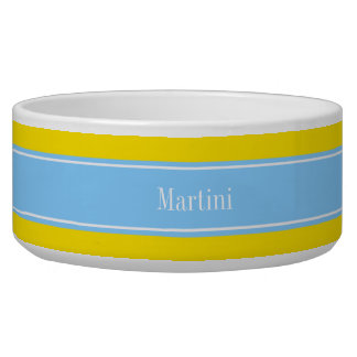Solid Yellow, Sky Blue Ribbon Name Monogram Dog Water Bowls