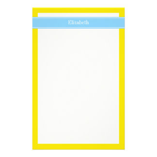 Solid Yellow, Sky Blue Ribbon Name Monogram Stationery