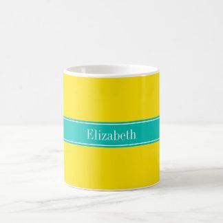 Solid Yellow, Teal Ribbon Name Monogram Classic White Coffee Mug