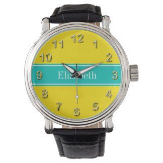 Solid Yellow, Teal Ribbon Name Monogram Watch