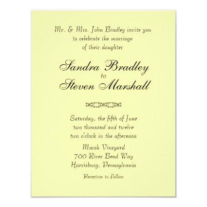 Solid Yellow Wedding Invitations
