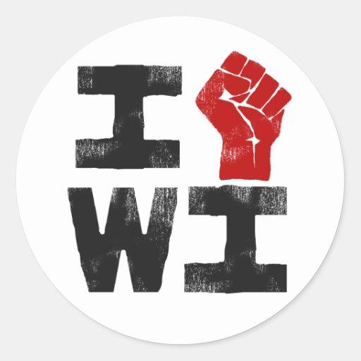 Solidaridad de Wisconsin Pegatina Redonda