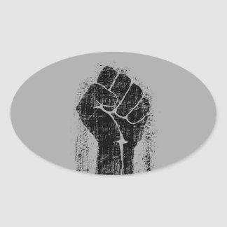 Solidarity Fist Grunge Distressed Style Oval Sticker