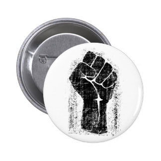 Solidarity Fist Grunge Distressed Style Pinback Button