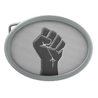 Solidarity Fist in Carbon Fiber Print Style Belt Buckle