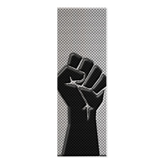 Solidarity Fist in Carbon Fiber Print Style Mini Business Card